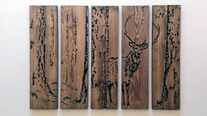 large engraved handcrafted oak stag wall bramble