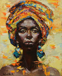 african woman portrait painting original oil painting woman