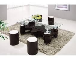 Unique Glass Coffee Tables - coffee table with stools invites more friends to hang out homesfeed