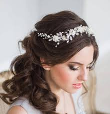 bridal tiara bridal hair vine floral bridal tiara wedding diadem pearl hair