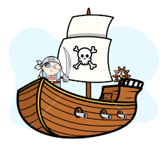 eye patched captain pirate on pirate ship vector cartoon