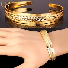 cuff bracelet gold plated images U7 bracelets for women fashion jewelry wholesale gold plated jpg