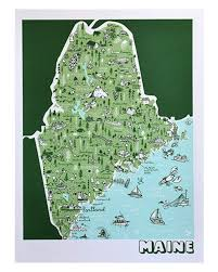 Maine State Map by Brainstorm Maine Map Print Little