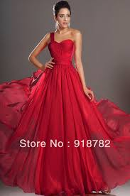arrival gorgeous one shoulder floor length pleated chiffon red