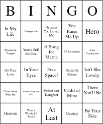 wedding words for bingo wedding songs bingo cards