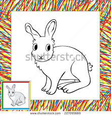 funny rabbit copy picture coloring stock vector 614574152