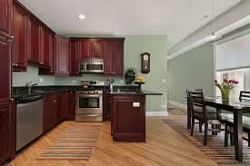 light sage green paint colors in kitchen with dark mahogany