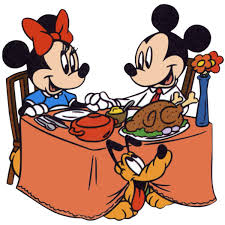 mickey minnie mouse thanksgiving turkey dinner clipart image