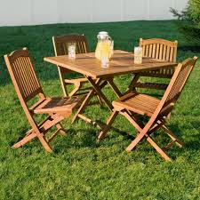 Wooden Patio Dining Set Teak Outdoor Square Folding Dining Table Outdoor