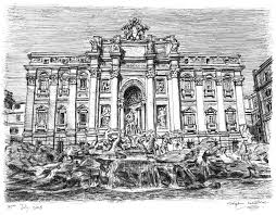 trevi fountain rome original drawings prints and limited