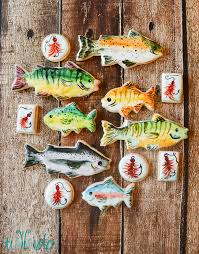 fishing themed baby shower watercolor fish and fishing cookies tikkido