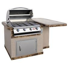cal flame 6 ft stucco grill island with tile top and 4 burner gas
