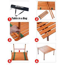 Indoor Picnic Table Costway Op2823 Wood Roll Up Table Folding Camping Outdoor Indoor
