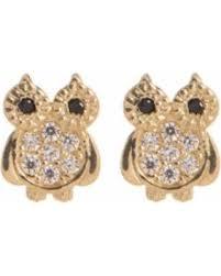 womens stud earrings hot sale candela 14k yellow gold cz owl stud earrings at