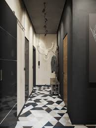 awesome geometric floor tile and masculine hallway decor with fake
