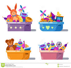 pile of childhood playing toys in boxes stock vector image 85341353