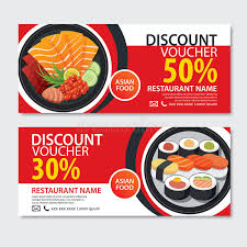 element cuisine discount discount voucher food template design japanese set stock