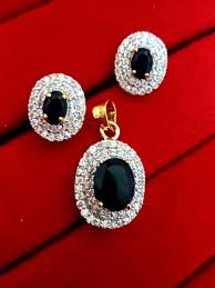 Gifts For Your Wife Daphne Black Ad Oval Pendant And Earrings Valentine