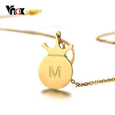 initials necklace vnox a z simple tiny initials necklace stainless steel crown disc