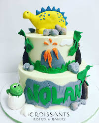 dinosaur birthday cake kids 2 tier dinosaur birthday cake croissants myrtle
