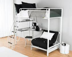 bedroom white stained wodoen twin loft bunk bed with dresser and