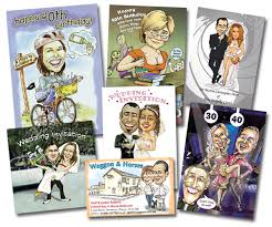 caricature cards and stationery
