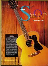 Retro Room Decor by Paul Simon U0027s Guild F 30 Guitar Poster Simon And Garfunkel