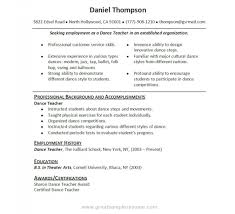 Ballet Resume Sample by Elegant Resume For Dance Teacher Resume Format Web