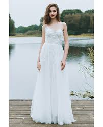 wedding dress a line boho a line simple wedding dress spaghetti straps for summer