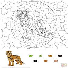 animals color by number coloring pages free printable pictures