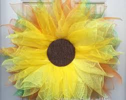 Sunflower Mesh Wreath Sunflower Door Etsy