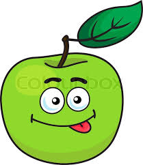 apple cartoon green cartoon apple fruit with one leaf and a goofy expression