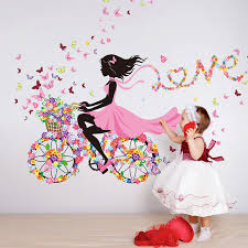 home decor walls shijuehezi girl wall sticker flower multi color bicycle love wall