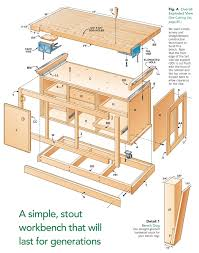 aw extra dream workbench popular woodworking magazine fig a exploded view