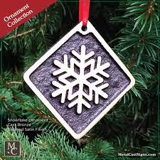 snowflake ornament bronze w velvet bag metal cast sign co