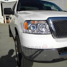 05 ford f150 headlights ford f150 2004 2008 clear halo projector headlights with led