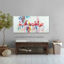 Paintings For Living Room by Online Buy Wholesale Flamingo Oil Painting From China Flamingo Oil