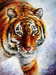 tiger on the snow u2014 palette knife oil painting on canvas by leonid