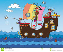 kids pirate ship sailing in the sea with flag stock vector image