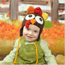 baby turkey hat crocheted using soft acrylic yarn for