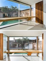 Pool Houses With Bathrooms A Home Office Overlooking A Swimming Pool Was Designed For This