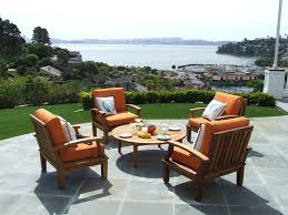 Wooden Outdoor Lounge Furniture Orange Seat Metal And Wood Outdoor Lounge That Can Be Applied On