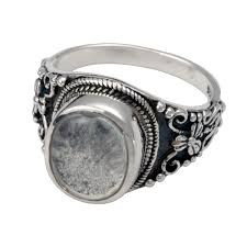 crematory jewelry pet cremation jewelry ornate ring with clear glass front