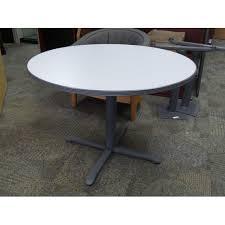 Grey Meeting Table Haworth 42 In Grey Laminate Meeting Table W Rubber Trim
