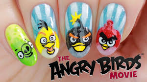 angry birds movie nail art tutorial youtube