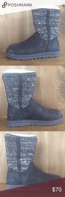 ugg womens lyla boots charcoal ugg australia sz 6 lyla sequin boots sparkle gray nwt ugg