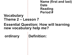 theme question definition theme 2 vocabulary 7 mrs fendrick bell work give an exle of