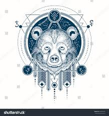 vector illustration front view bear s stock vector 626839106