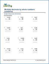 multiplying decimals grade 6 multiplication of decimals worksheets free printable