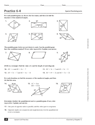 properties of parallelograms worksheet practice 6 4 special parallelograms 10th 11th grade worksheet